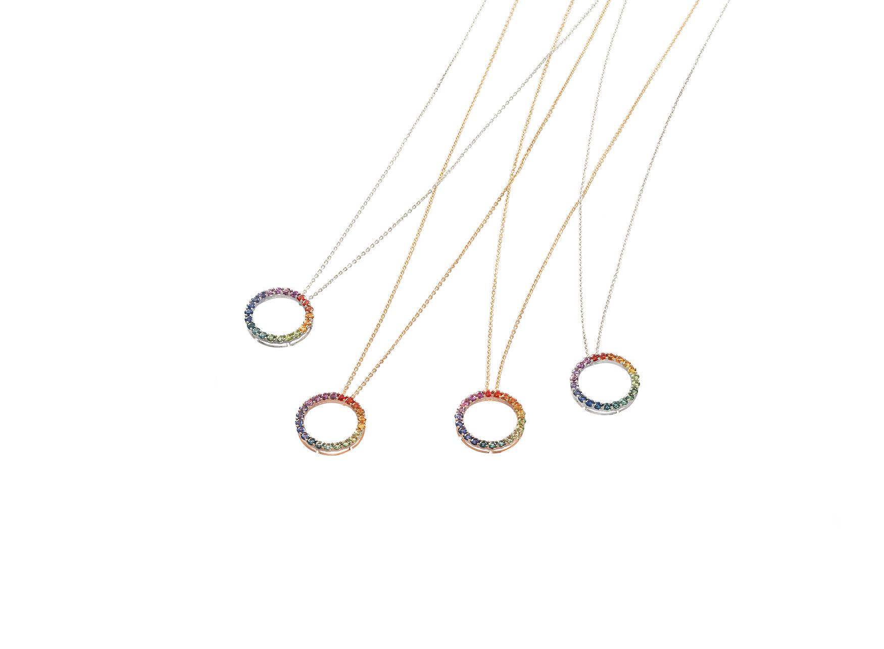 Collares con Pendientes de Aro Rainbow