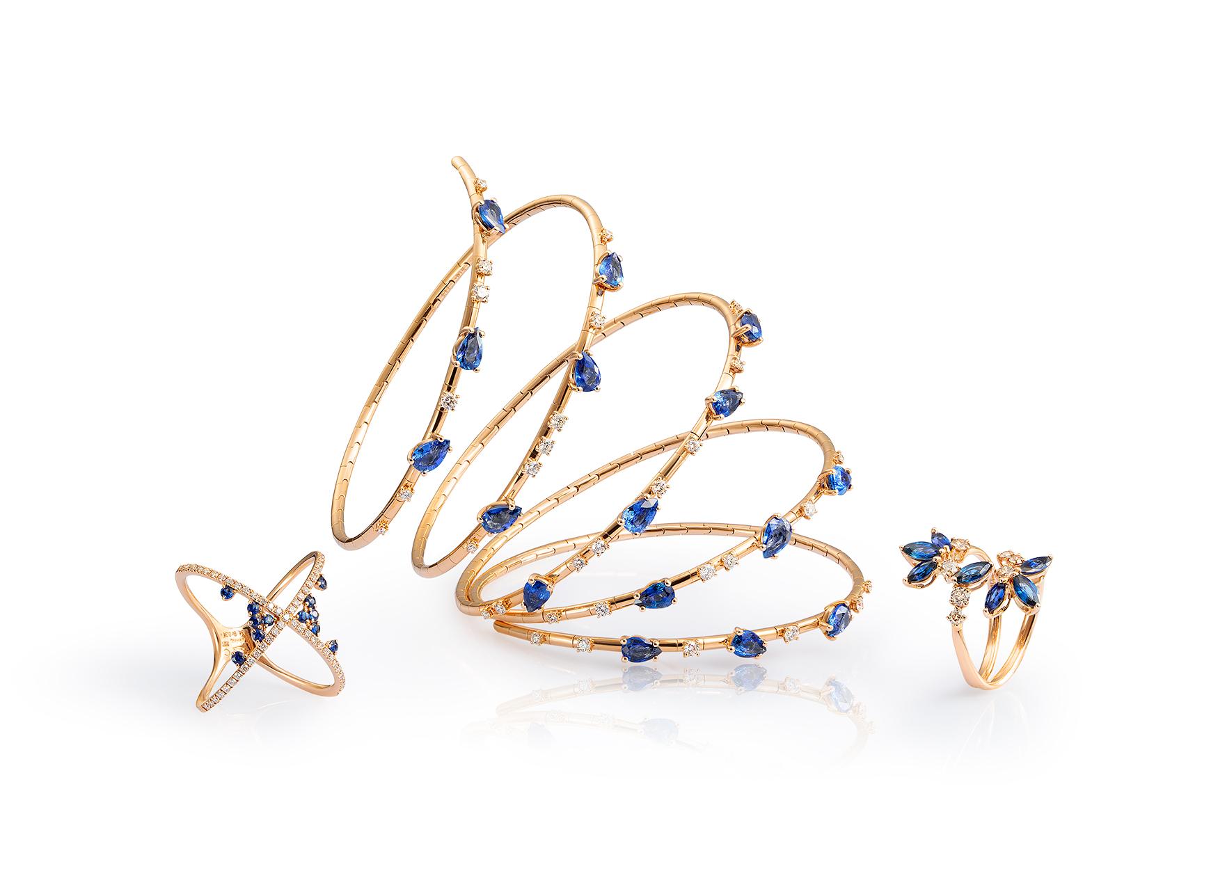 Aros y anillos petalos de zafiros