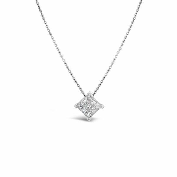 Collar Oro Blanco y diamantes