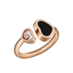 Anillo Chopard Happy Hearts oro rosa, onix y diamante
