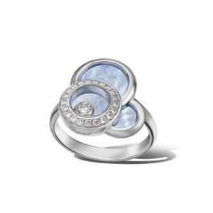 Anillo Chopard Happy Dreams oro blanco, madreperla azul y diamantes