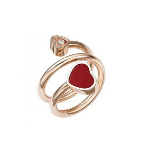 Anillo Chopard Happy Hearts oro rosa y piedra roja