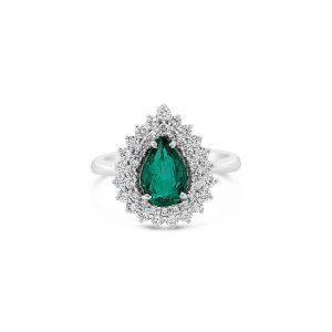 Anillo Oro Blanco, esmeralda y diamantes