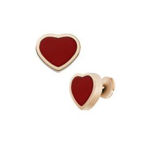 Topos Chopard Happy Hearts oro rosa y piedra roja