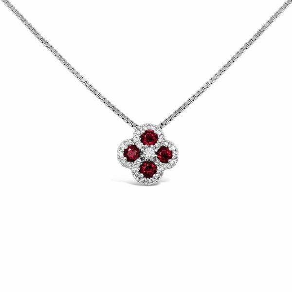 Collar Oro Blanco, rubís y diamantes