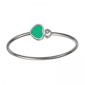 Pulsera Chopard Happy Hearts oro blanco, agata verde y diamante