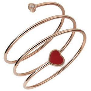 Pulsera Chopard Happy Hearts oro rosa, piedra roja y diamante