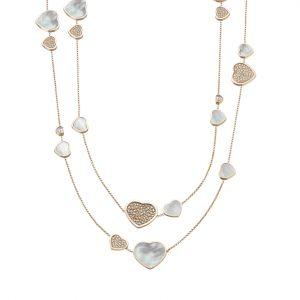 Collar Chopard Happy Hearts oro rosa, madreperla y diamantes
