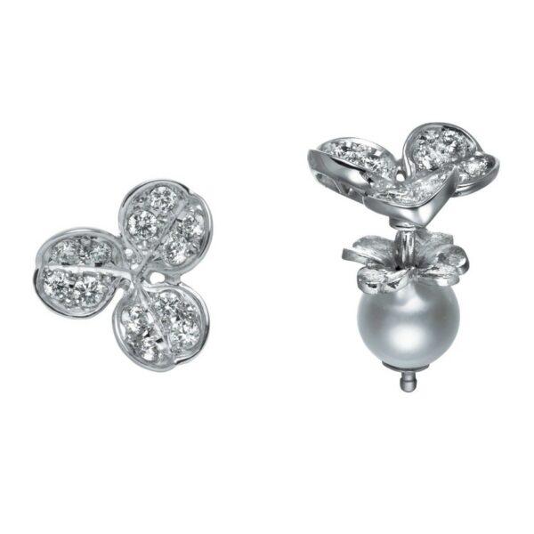 Aretes Mikimoto Perlas Akoya, oro blanco 18k y diamantes