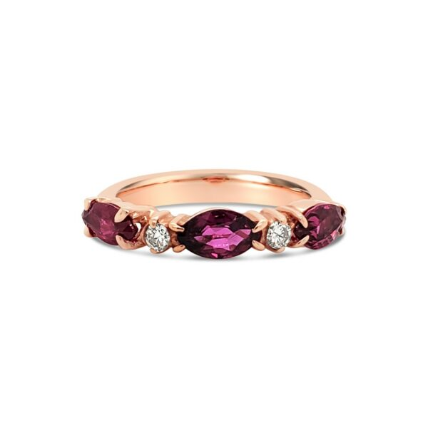 Anillo Bauer Rubíes oro rosa 18k, diamantes y rubíes