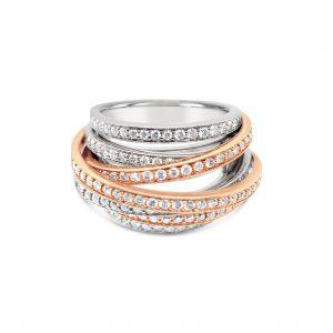 Anillo siete vueltas con diamantes - oro blanco y rosa