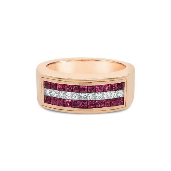 Anillo con rubís y diamantes carré - oro rosa