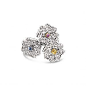 Anillo trio de flores diamantes y zafiros de color - oro blanco