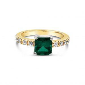 Anillo esmeralda y diamantes - oro amarillo y blanco