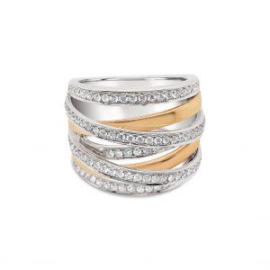 Anillo siete vueltas diamantes - oro blanco y rosa