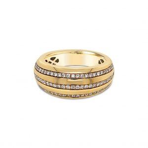 Argolla abombada con tres filas de diamantes - oro amarillo