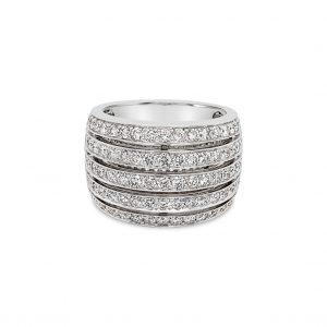 Anillo cinco ileras diamantes - platino