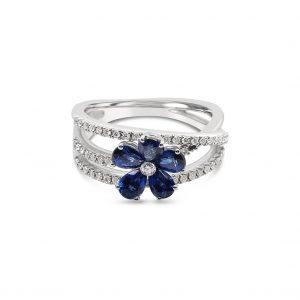 Anillo tres aros con flor de zafiros y diamantes - oro blanco