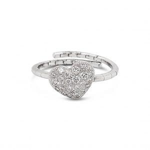 Anillo corazón pavé de diamantes con aro expandible - oro blanco