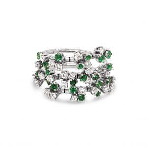 Anillo esmeraldas y diamantes en tres aros flexibles - oro blanco
