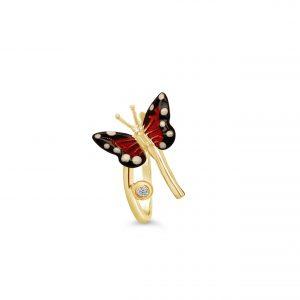 Anillo Oro Amarillo, esmalte y diamante