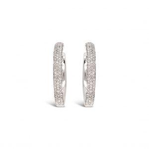 Candongas ovaladas con pavé de diamantes - oro blanco