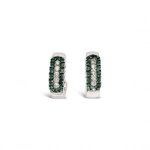 Aretes esmeraldas y diamantes verticales - oro blanco