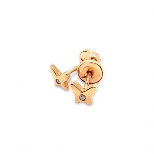 Topos Bebé / Niña Mariposas con Diamantes y Oro Rosa - mariposa atornillada