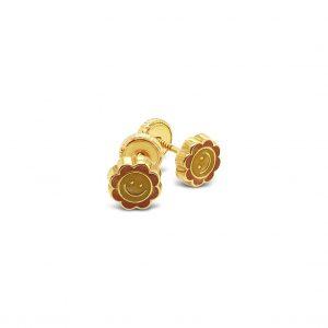 Topos Bebé / Niña Soles Sonrientes Oro Amarillo y Esmalte - mariposas atornilladas