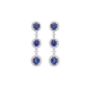 Aretes zafiros con aureolas de diamantes - oro blanco