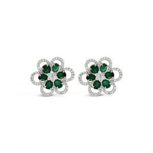 Aretes flores de esmeraldas con diamantes - oro blanco