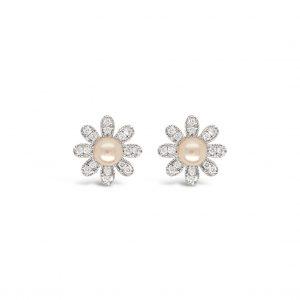 Topos flores de perlas con diamantes - oro blanco