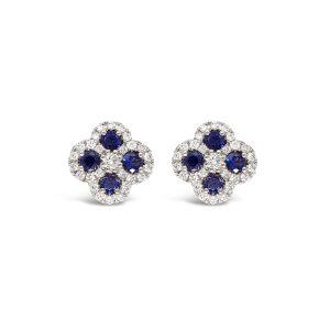Topos flores de zafiros y diamantes - oro blanco