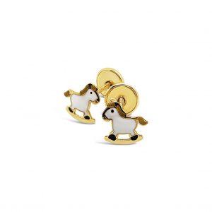 Topos Bebé / Niña Caballitos Oro Amarillo y Esmalte - mariposas atornilladas