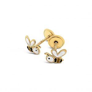 Topos Bebé / Niña Abejas Oro Amarillo y Esmalte - mariposas atornilladas