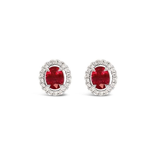Topos de rubís con aureola de diamantes - oro blanco