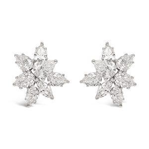 Aretes flor con diamantes pera y marquiz - oro blanco
