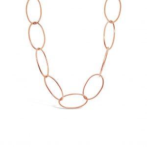 Collar en eslabones ovalados - oro rosa - 90 cm