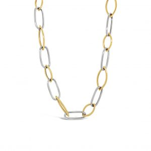 Collar eslabones ovalados - oro amarillo y blanco