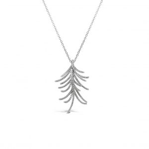 Collar con pendiente a ramas con diamantes - oro blanco