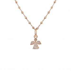 Collar esferas diamantadas y pendiente de angel con diamantes - oro rosa