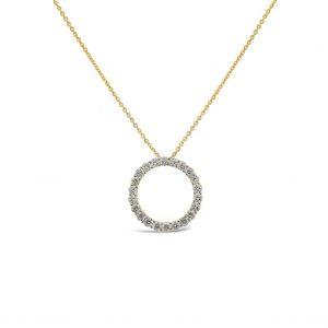 Collar con pendiente círculo de diamantes grande- oro amarillo