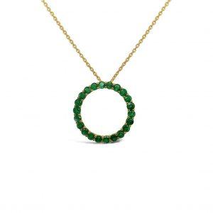 Collar con pendiente círculo de esmeraldas grande - oro amarillo