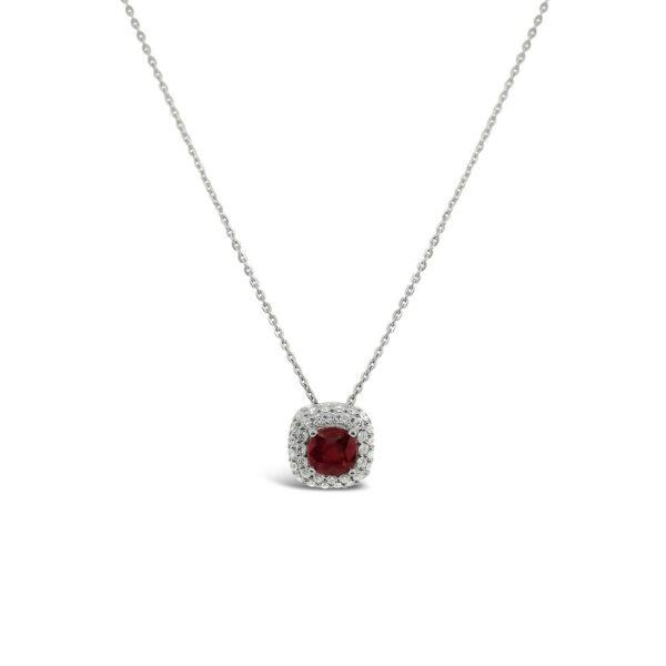 Pendiente rubí con bisel de doble fila de diamantes - oro blanco