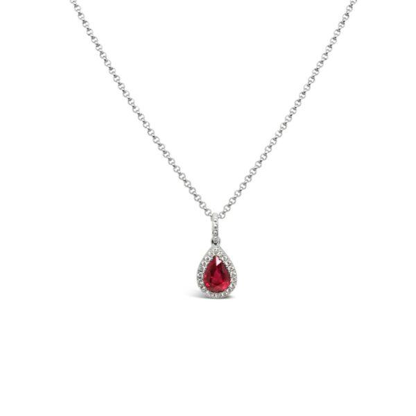 Pendiente lágrima de rubí con diamantes - oro blanco