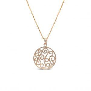 Pendiente arabescos con pavé de diamantes - oro rosa