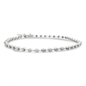 Pulsera sinfín de diamantes - oro blanco