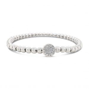 Pulsera esferas y círculo con pavé de diamantes - oro blanco