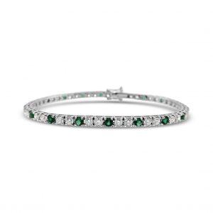 Pulsera tennis diamantes y esmeraldas - oro blanco