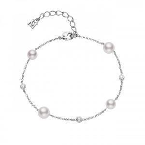 Pulsera Mikimoto Perlas Akoya Oro blanco 18k y diamantes